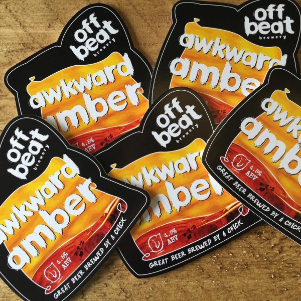 Awkward Amber Ale pump clip designed for Offbeat Brewery