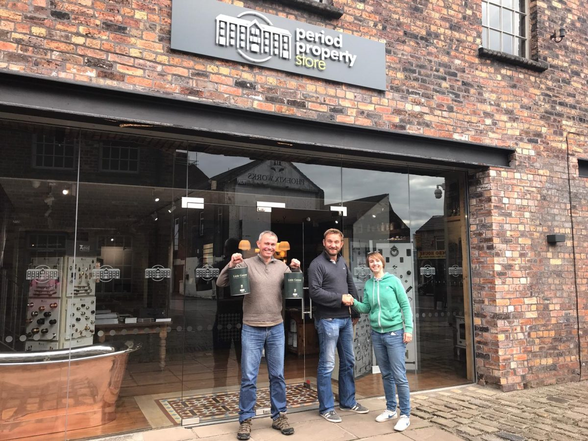 Vicky Stanaway, Matthew Dashper-Hughes and Mark Milner at Period Property Store in Longton.