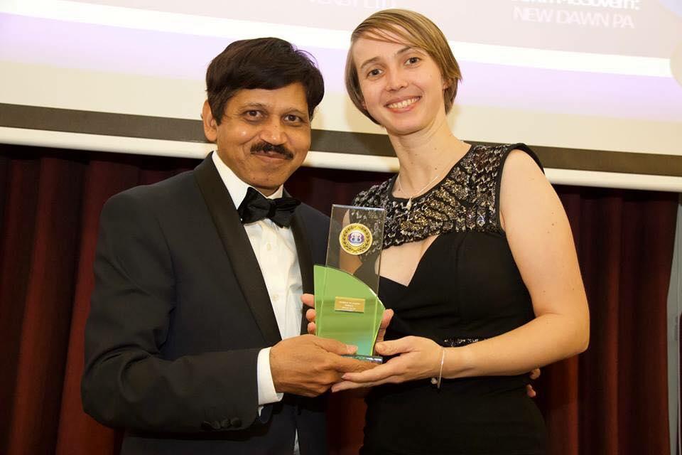 Vicky Stanaway receiving her award