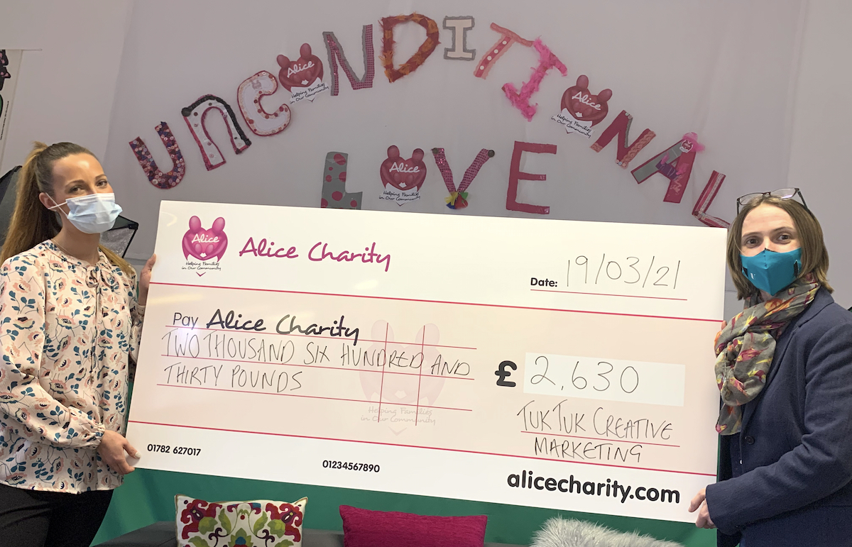 Vicky Stanaway with Alice Charity fundraising manager Lauren Beresford
